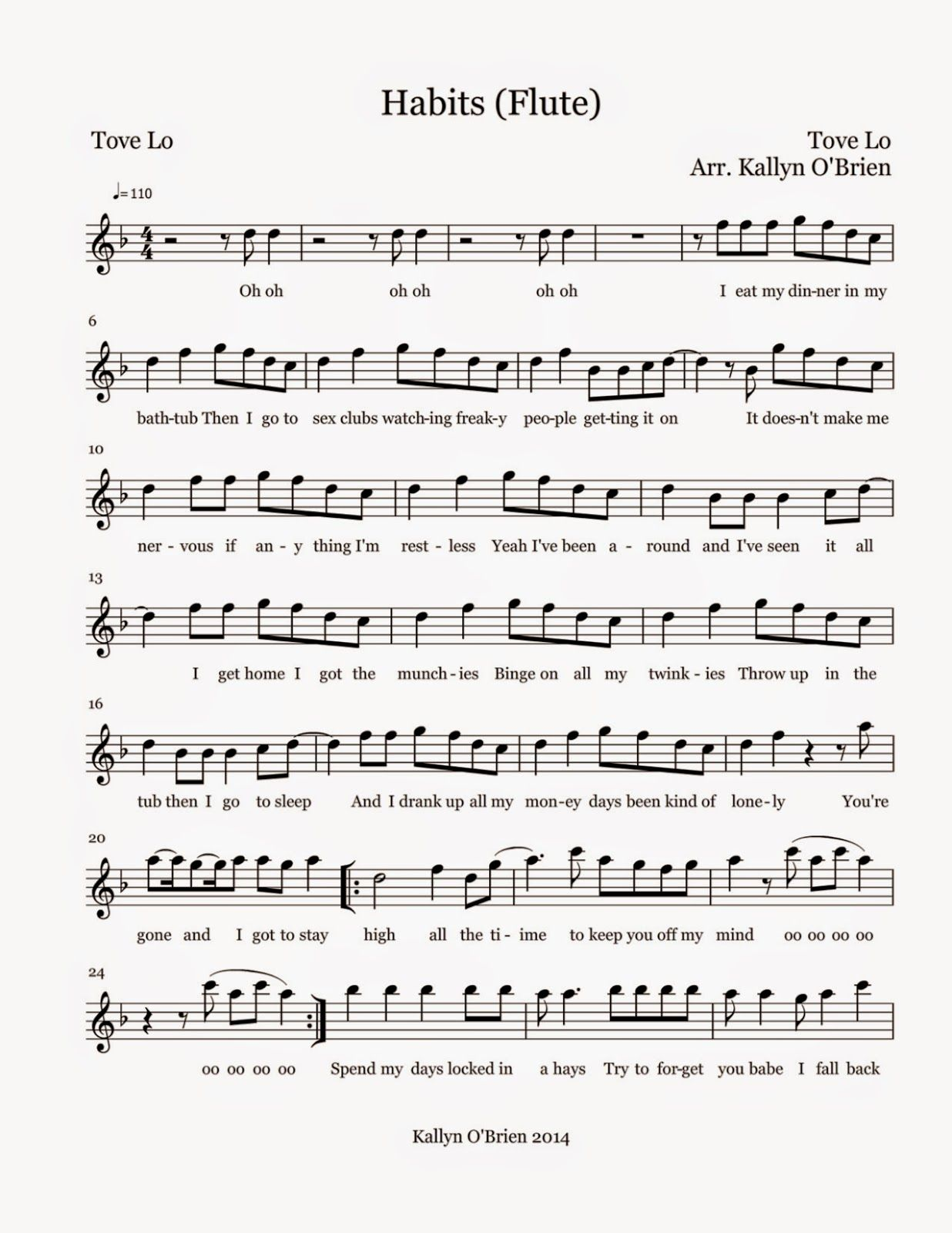 Flute sheet music to popular songs
