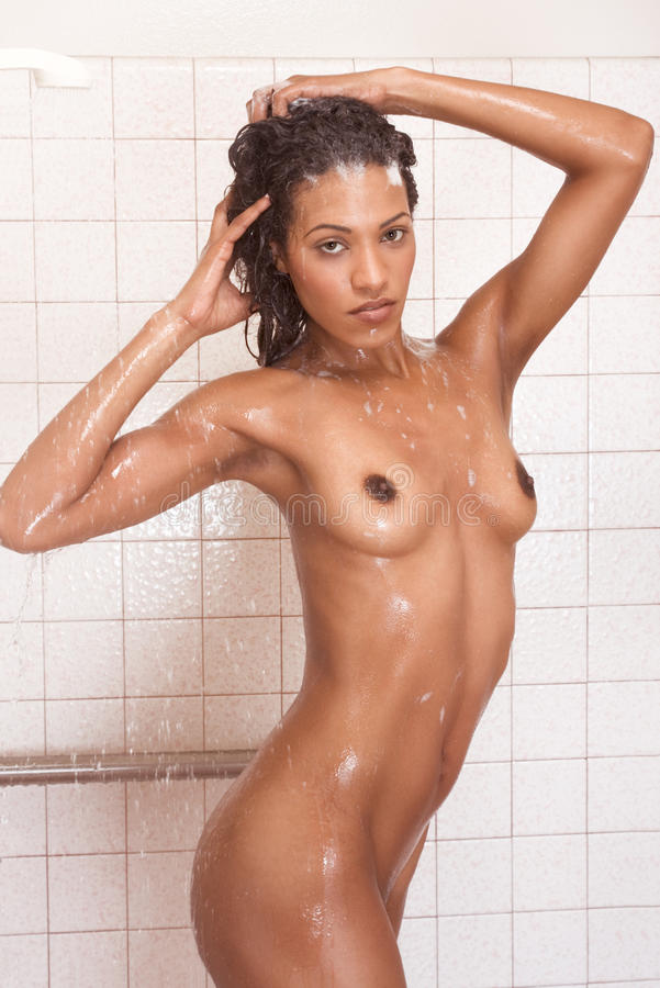 Black naked woman in shower