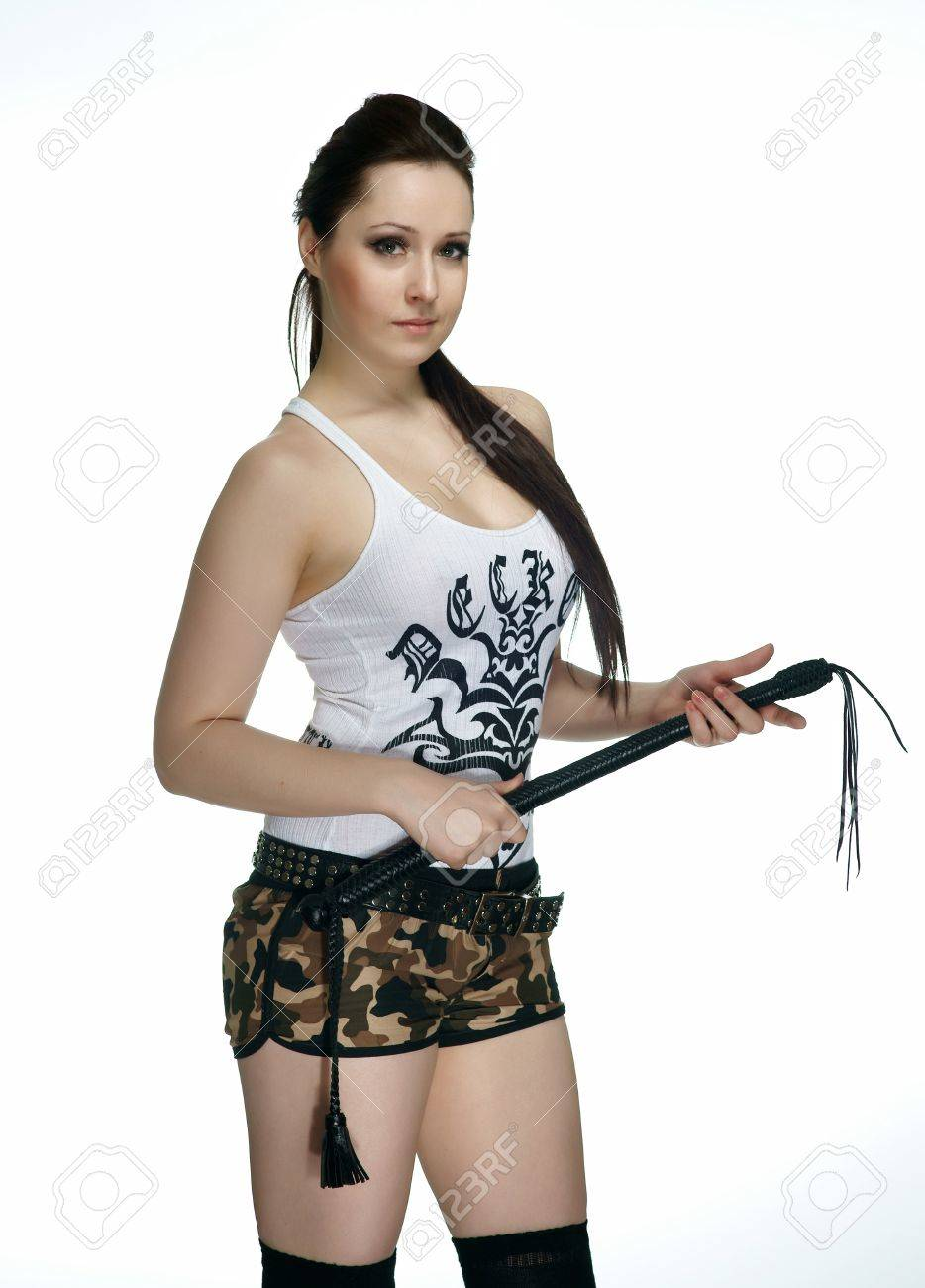 Girl with whip as weapon